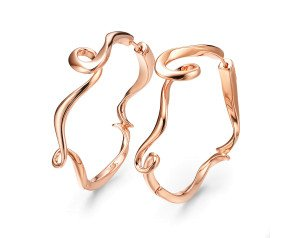 Sterling Silver & Rose Gold Vermeil Hoop Earrings