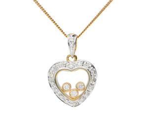 9ct Yellow & White Gold Floating 0.35ct Diamond Heart Pendant