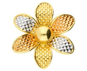 Pre-owned Italian Three-tone Flower Pendant / Brooch