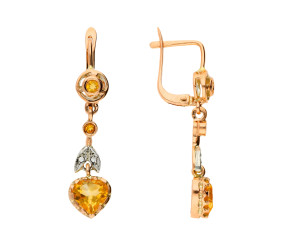 Handcrafted Italian 9ct Rose Gold Citrine & Diamond Heart Drop Earrings