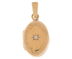 Vintage 9ct Yellow Gold Diamond Oval Locket