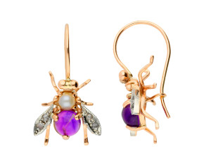 Handcrafted Italian Amethyst, Pearl & 0.10ct Diamond Bee Drop Earrings