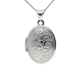 Sterling Silver Small Oval Floral Locket