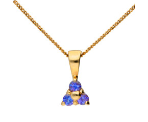 9ct Yellow Gold Tanzanite Trefoil Cluster Pendant