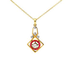 Art Deco 18ct Gold 0.30ct Diamond & Ruby Pendant