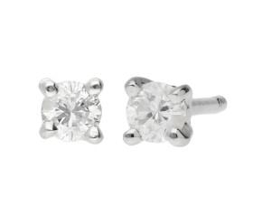 9ct White Gold 0.10ct Diamond Solitaire Stud Earrings