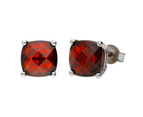9ct White Gold Garnet Solitaire Stud Earrings