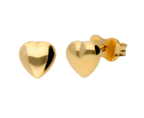 9ct Yellow Gold Polished Heart Earrings
