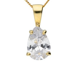9ct Yellow Gold 3cts Pear Cubic Zirconia Solitaire Pendant