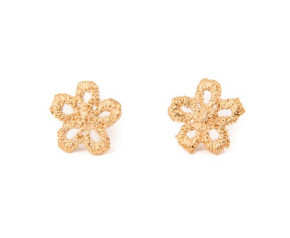 18ct Gold Vermeil Lace Daisy Stud Earrings