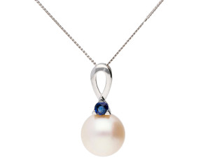 9ct White Gold Cultured Pearl & Sapphire Pendant
