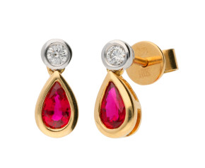 18ct Yellow Gold 0.47ct Ruby & 0.08ct Diamond Fancy Earrings