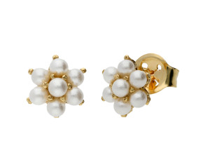9ct Yellow Gold Freshwater Seed Pearl Flower Earrings