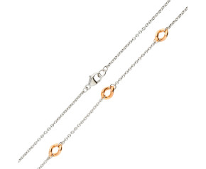 9ct White & Rose Gold Trace & Curb Fancy Chain