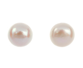 Silver 4mm Freshwater Button Pearl Earrings