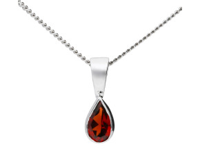 9ct White Gold 0.20ct Pear Garnet Rub Over Pendant