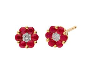 18ct Yellow Gold 0.40ct Ruby & 0.10ct Diamond Cluster Stud Earrings