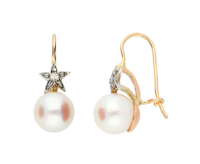 Handcrafted Italian Cultured Pearl & Diamond Drop Earrings