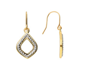 9ct Yellow & White Gold Drop Earrings