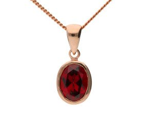9ct Rose Gold Oval 0.95ct Garnet Solitaire Pendant