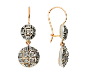 Handcrafted Italian 9ct Rose Gold 0.30ct Diamond Cluster Drop Earrings