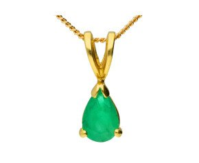 18ct Yellow Gold 0.45ct Pear Emerald Solitaire Pendant