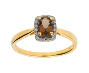 9ct Yellow Gold Diamond & Smokey Quartz Dress Ring