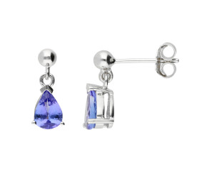 9ct White Gold 7mm Tanzanite Solitaire Pear Shape Drop Earrings