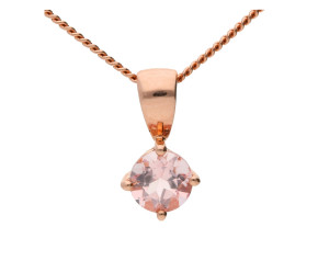 9ct Rose Gold 0.40ct Round Morganite Solitaire Pendant