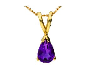 18ct Yellow Gold 0.35ct Pear Amethyst Solitaire Pendant