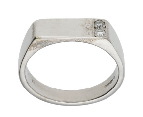 Pre-owned Men's 9ct White Gold 0.10ct Diamond Ring