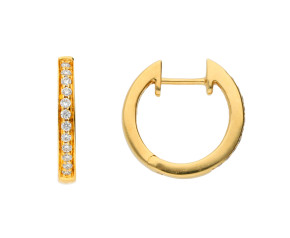 18ct Yellow Gold Diamond Hinged Hoop Earrings