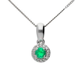 9ct White Gold Emerald & Diamond Pendant