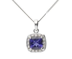 9ct White Gold Iolite & Diamond Pendant