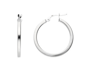 9ct White Gold 2.4cm Square Edged Hoop Earrings