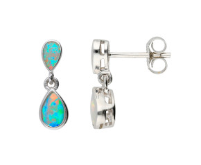 9ct White Gold 0.76ct Opal Drop Earrings