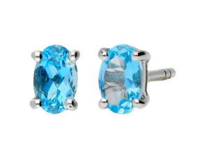 9ct White Gold 0.30ct Oval Aquamarine Stud Earrings
