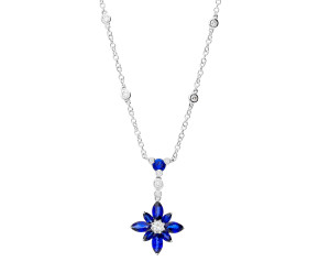18ct White Gold 1.69ct Sapphire & 0.26ct Diamond Flower Necklace