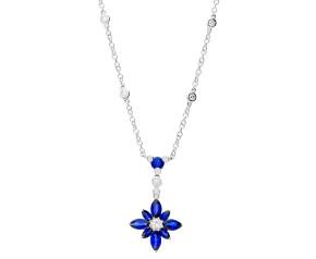 18ct White Gold 1.69ct Sapphire & 0.26ct Diamond Flower Necklace