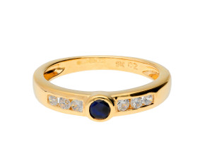 Pre-owned 9ct Yellow Gold Sapphire & Cubic Zirconia Ring
