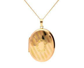 Vintage Front & Back 9ct Yellow Gold Oval Locket