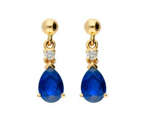 9ct Yellow Gold 1.50ct Sapphire & Diamond Drop Earrings