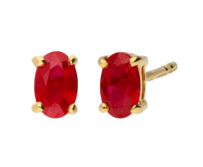 18ct Yellow Gold 5mm Ruby Soliatire Oval Shape Stud Earrings