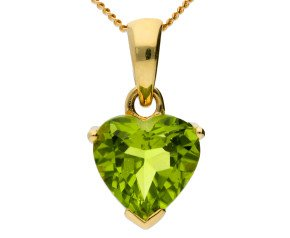 9ct Yellow Gold 0.35ct Peridot Heart Pendant