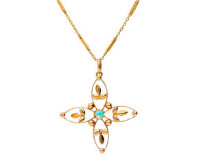 Antique 9ct Yellow Gold Opal Flower Pendant