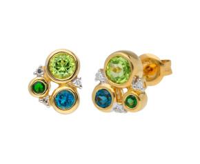 9ct Peridot, Tourmaline, London Blue Topaz & Diamond Earrings
