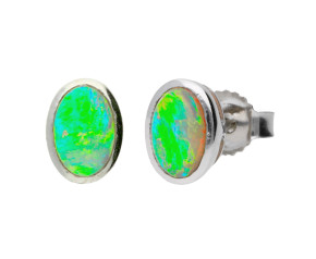 9ct White Gold 0.50ct Oval Opal Solitaire Stud Earrings