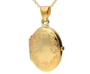 9ct Yellow Gold Forget Me Not Locket