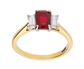 18ct Yellow Gold 0.90ct Ruby & Diamond Trilogy Ring