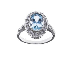 18ct White Gold 2.04ct Aquamarine & Diamond Dress Ring